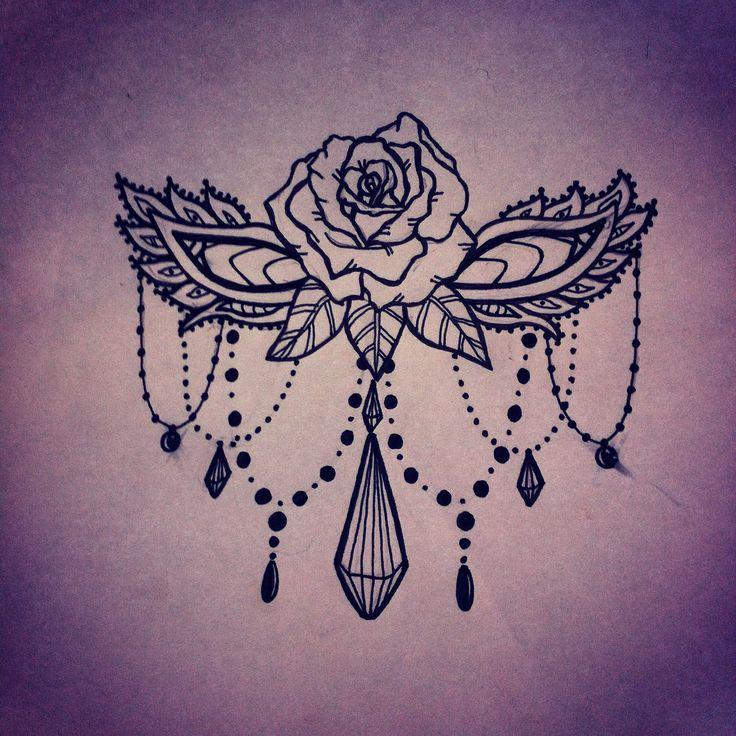 Rose beads sternum design tattoo