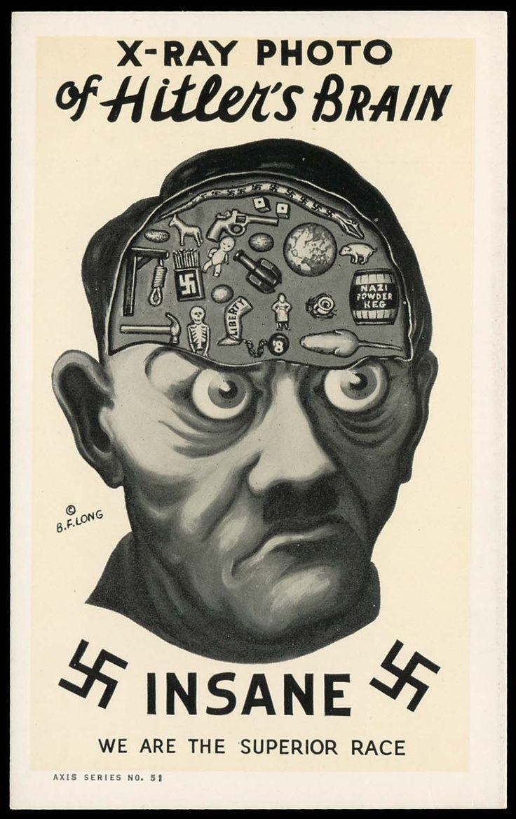 This is an anti-nazi propaganda poster from 1942. This is putting Hitler in a bad light, saying his thoughts only consist of violence and destruction. This represents the fact that there were many people against Hitler, claiming he was insane.