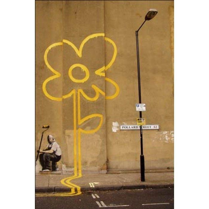 The Banksy Shop - Banksy Canvas Print - Yellow Flower, £34.95 (http://www.thebanksyshop.co.uk/banksy-canvas-print-yellow-flower/)