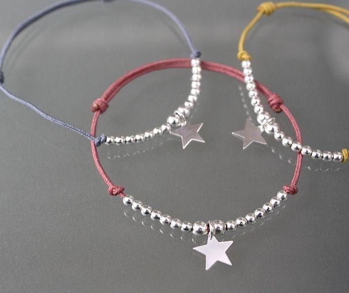 Bracelet cordon rose ancien argent 925 et breloque étoile argent : Bracelet par gris-poudre