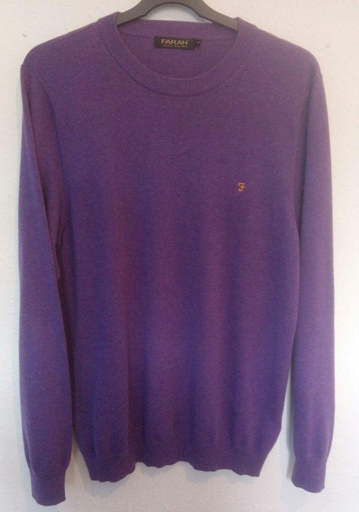 Farah Mens Jumper Soft 100% Pima Cotton Long Sleeve Purple Size M VGC