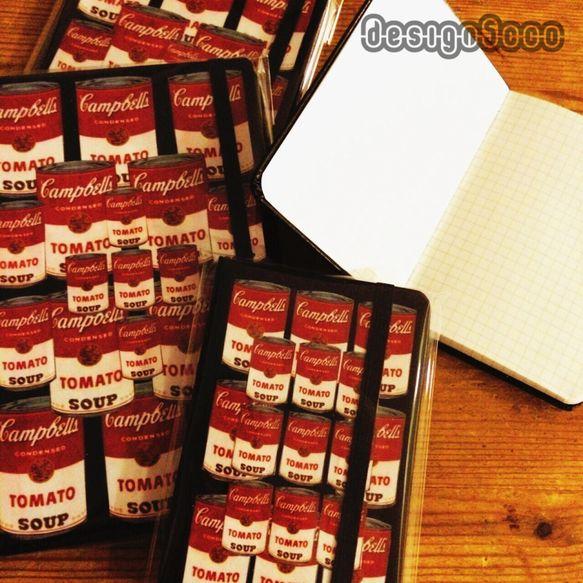 アンディ・ウォーホルなどでおなじみのキャンベルトマトスープをモチーフにしたノートです。9.5cm×14cm中は方眼紙なのでとても書きやすいですよ。...|ハンドメイド、手作り、手仕事品の通販・販売・購入ならCreema。