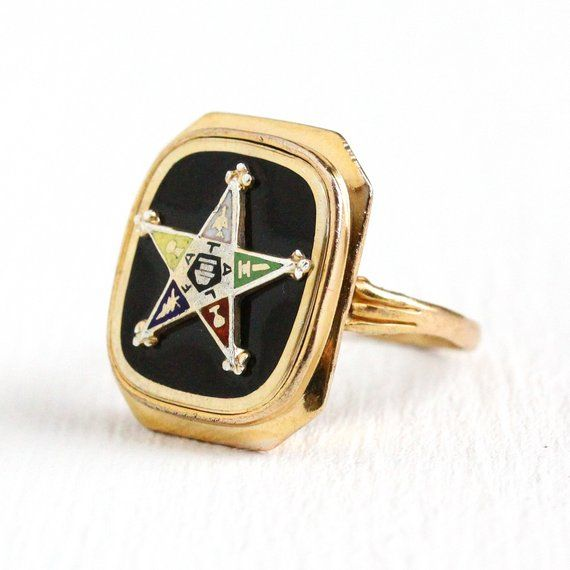 Vintage 10k Yellow Gold Order Of The Eastern Star Ring Featuring The Oes Emblem With Enamel Detailing Each T Eastern Star Order Of The Eastern Star Star Ring