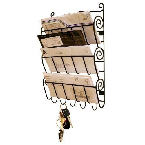 WALL MOUNT LETTER RACK INTERHOME 3 LETTERS SLOT 5 KEY HOOKS 36 x 26 x 6 cm