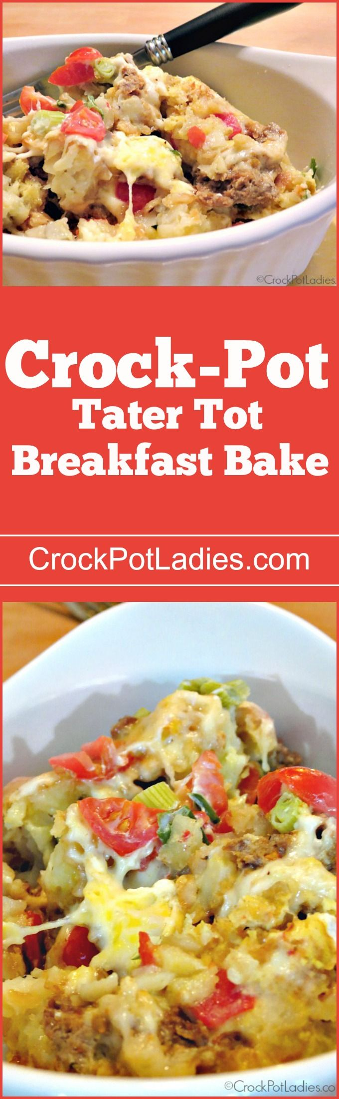 Crock-Pot Tater Tot Breakfast Bake - Tater tots, sausage, cheese & eggs combine in this recipe for Crock-Pot Tater Tot Breakfast Bake. Prepare everything the night before for a yummy breakfast!  via @CrockPotLadies