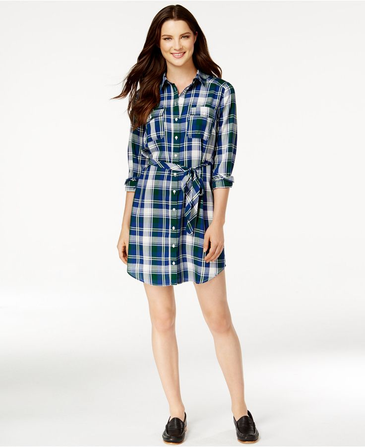 G.H. Bass & Co. Belted Plaid Shirt Dress - Dresses - Women - Macy's