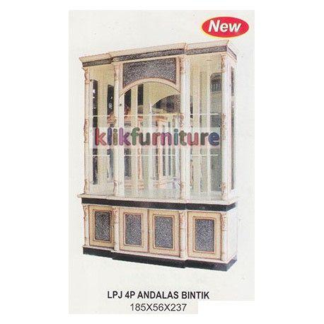 Harga Pajangan 4 Pintu Andalas Bintik Cms Condition:  New product  Lemari Hias Pajangan Ruang Tamu Kaca 4 Pintu Ukuran Panjang : 185cm, Lebar : 56 cm, Tinggi : 237 cm Finishing Bintik