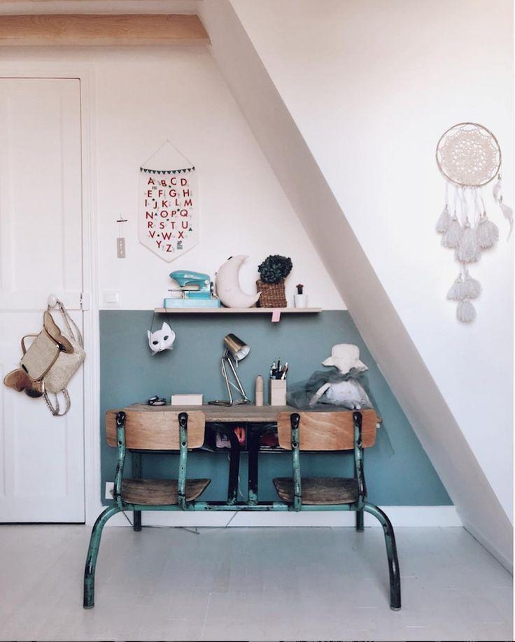 Vintage school desk and half blue half white walls…