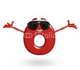 Cartoon Character of alphabet O with goggles