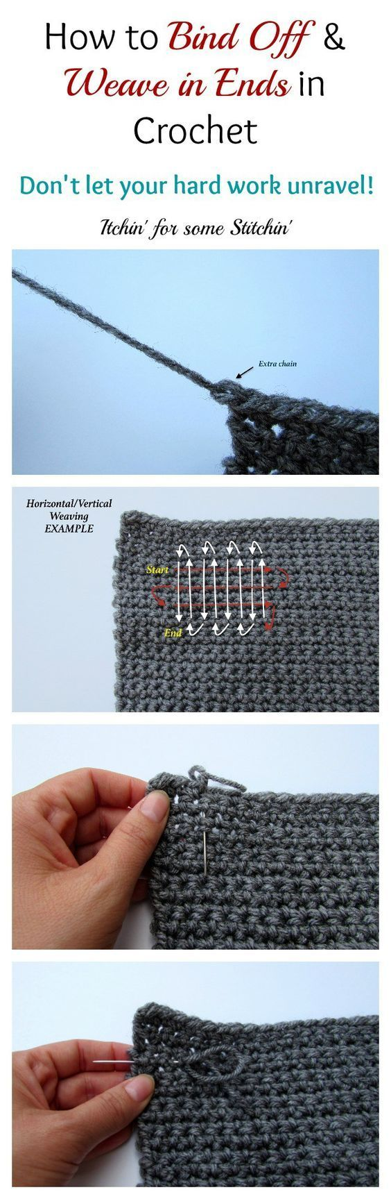 How to Bind Off and Weave in Ends in CrochetNice little tutorial over at Itchin for Some Stitchin. A good one to have in your crochet arsenal.