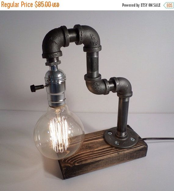 KOOP 15% KORTING op industriële verlichting - Steampunk Lamp - tafel Lamp - Edison Light - Vintage licht - pijp Lamp - bed Lamp - rustieke verlichting -