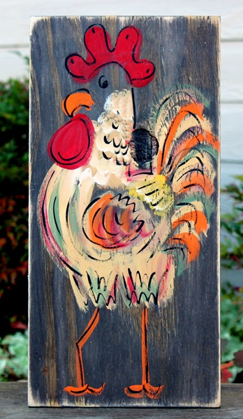 Rustic Rooster Painting Stained for BourbonandBoots.com