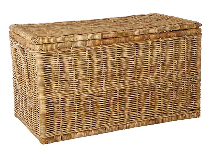 Extra Large English Rattan Trunk Basket in Natural