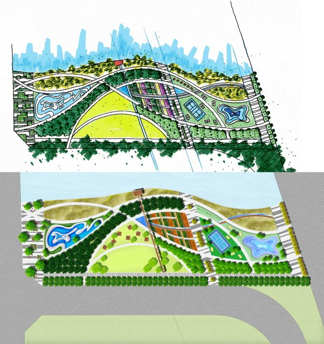 Waterfront park masterplan and cg landscape drawing for Waterfront landscape design