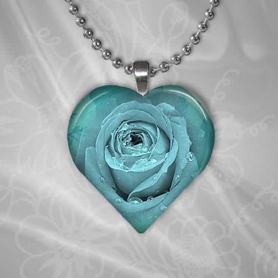 Blue Rose Heart Shape Glass Pendant by TheShimmeringPalace