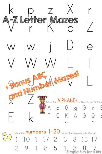 Get 84 different alphabet and number mazes in one convenient pdf file! Perfect for toddlers and preschoolers who are learning their letters and numbers.