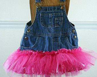 ed29f03fbe Adorable Denim Overall Dress with Pink Tutu