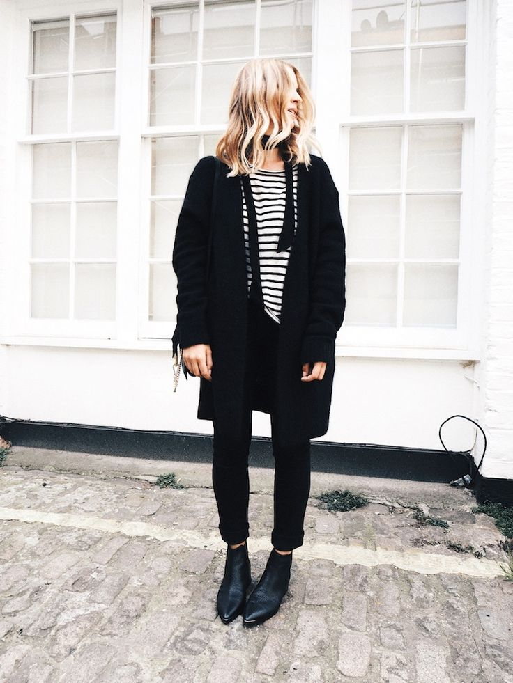 wavy hair, skinny scarf, striped tee, black coat, Chloe bag, cuffed skinny jeans and Acne ankle boots