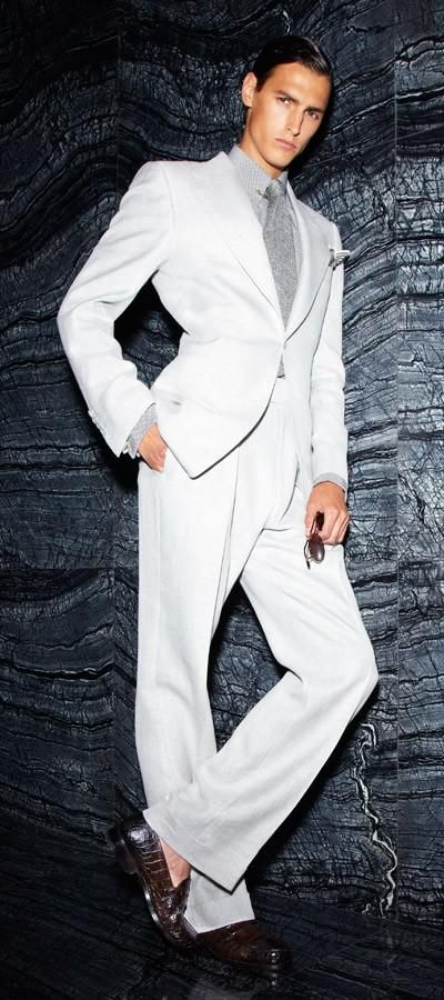 Tom Ford's insouciant style  models.com   Wht + grey! <3 But Put on a grey sock!! Agh!~ js