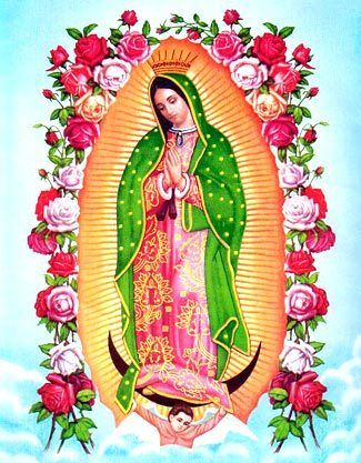 """Virgen de Guadalupe, the fused iconography of the Virgin Mary and the indigenous Nahua goddess Tonantzin (mother earth), """"the first mestiza"""" or """"the first Mexican"""", bringing together people of distinct cultural heritages. Empress of Latin America."""