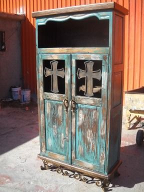 Love this: Turquoi Country Decoration, Turquoi Cabinets, Westerns Antiques, Rustic Westerns Furniture, Turquoise Crosses, Turquoi Crosses, Turquoise Furniture, Rustic Turquoi Decoration, Turquoise Cabinets