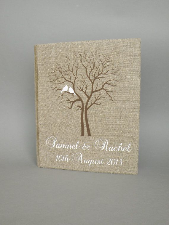 Wedding rustic old style photo album or scrapbook burlap Linen Bridal shower anniversary White birds and names and brown tree on Etsy, $70.00