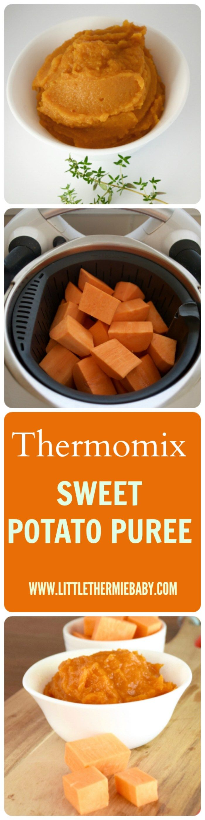 Thermomix Sweet Potato Baby Puree - I just love this Thermomix Sweet Potato puree for baby….it's delightful! Velvety and honey flavored, sweet potatoes are a fantastic super food to give babies. Babies just love them. And it's soooo easy to make! It's a really great place to start your baby weaning journey.