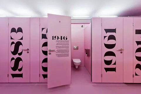 Cool pink toilet cubicles