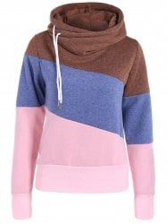 Casual Sweat à Capuche Color Block Manches Longues