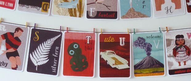 NZ alphabet, kiwi A-Z, ABCs flash card or frieze set by Tanya Wolfkamp for Live Wires NZ