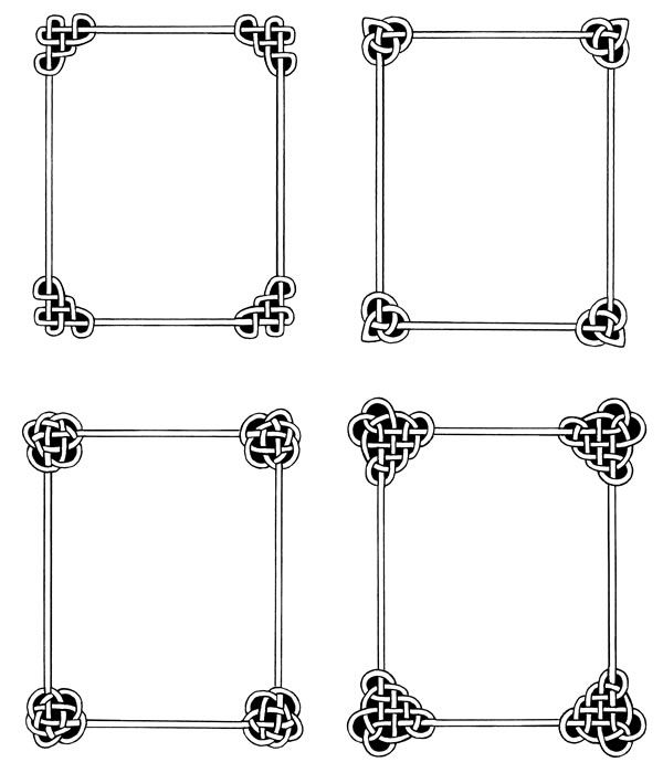 Love the simplicity of these celtic knot frames...  Favorite one - top left...  I can picture them in silver or pewter.