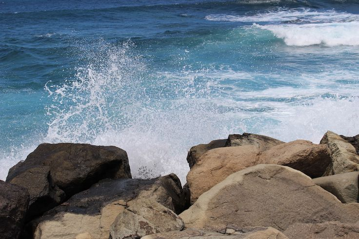 Blue sea and waves on the coast of Gran Canaria