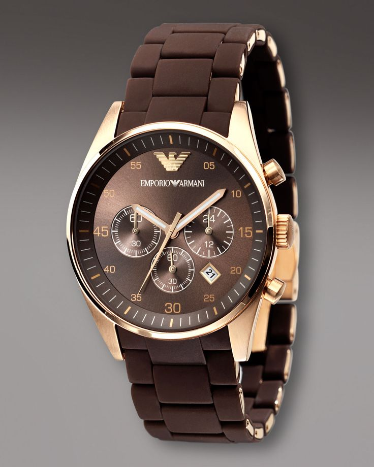 emporio armani chronograph sport brown mens
