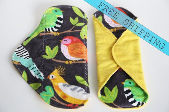 bird set 2 8 Panty Liner Flannel Cloth Pad Mama Pad No