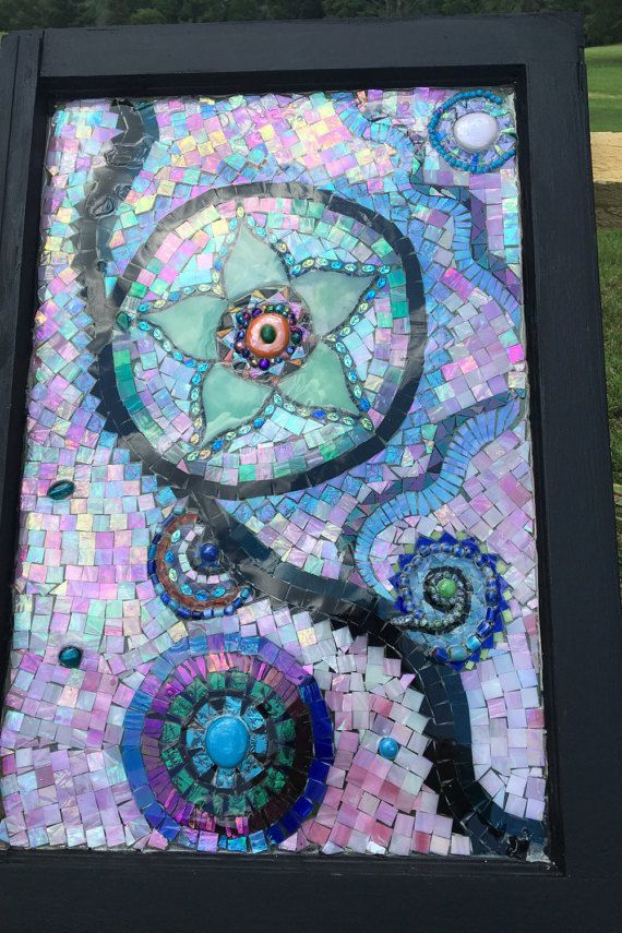 handcut mosaic glass in vintage window frame by GlassyGiftsByLisa