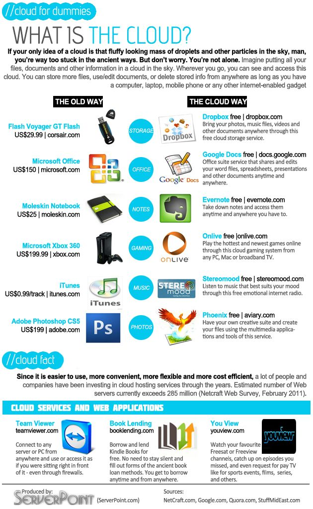 Understanding what the cloud is - The Cloud for Dummies an Infographic from http://www.serverpoint.com/