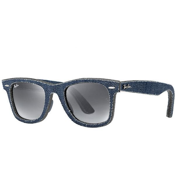 Ray-Ban Original Wayfarer Denim Blue Sunglasses, Gray Lenses - Rb2140 featuring polyvore women's fashion accessories eyewear sunglasses blue wayfarer glasses ray ban sunglasses wayfarer style sunglasses wayfarer style glasses unisex glasses