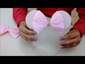 Tiara e faixa de bebê da Minie cor de rosa com pérola - DIY - YouTube
