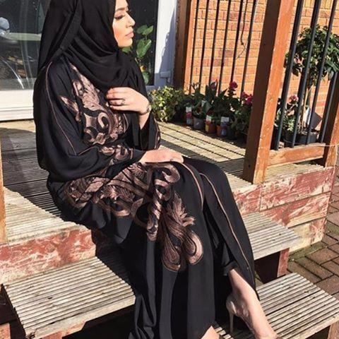 Pinterest: @eighthhorcruxx. Love this abaya. Black and bronze.  @zahraaayub