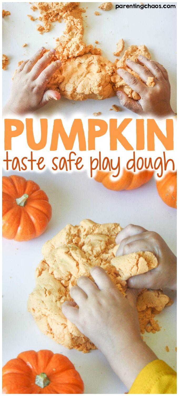 Kids will LOVE this Taste Safe Pumpkin Play Dough!