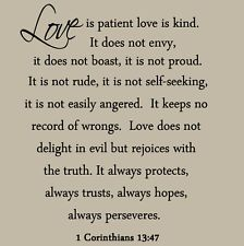 Love Is Patient Love Is Kind Wall Decal Love Quotes Bible Wedding En Ement