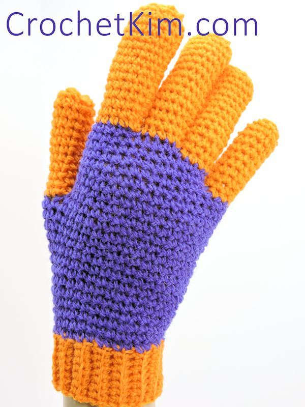 """. Pattern      Add this project to your Ravelry favorites HERE  To print or convert to PDF click the green """"Print Friendly"""" button below the pattern.   Jersey Gloves designed by Kim Guzman © August 2015 Email to kim@crochetkim.com Please read my Terms of Use Technique: Regular Croche"""