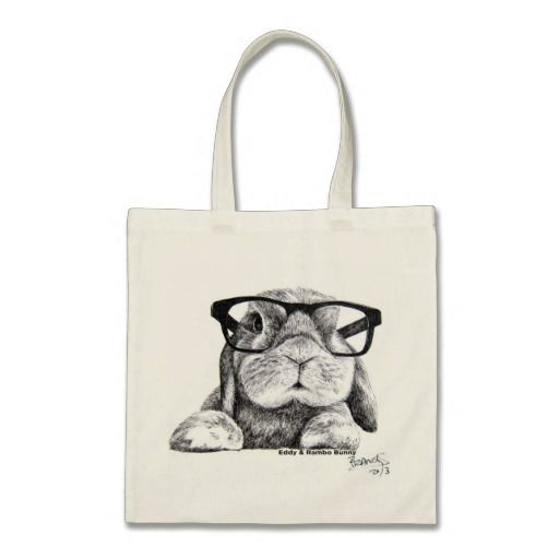 Hipster Rambo Bunny Tote Canvas Bags 75% Off On Tote Bags ---- Only Today --- Till noon - Grab  it  !!!!!!