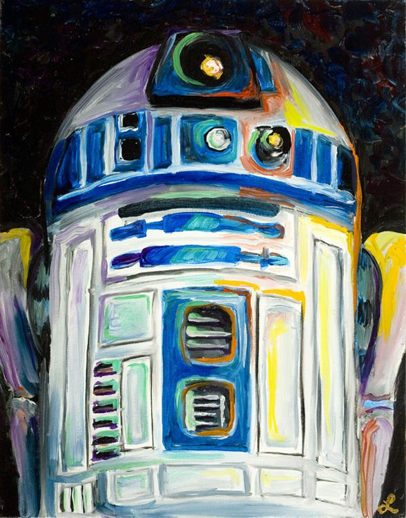"""R2D2″ painting by artist Lani Woods"