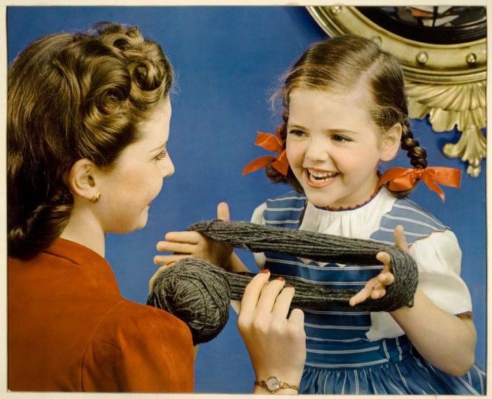 I remember helping Mum to wind wool into a ball.