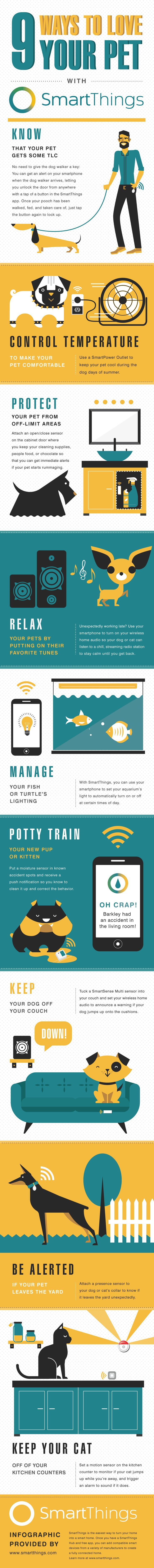Here are 9 ways that SmartThings can help your pets lead healthier, happier lives while also promoting good behavior. Ready to get started? Visit Shop.SmartThings.com to create a safer, smarter...