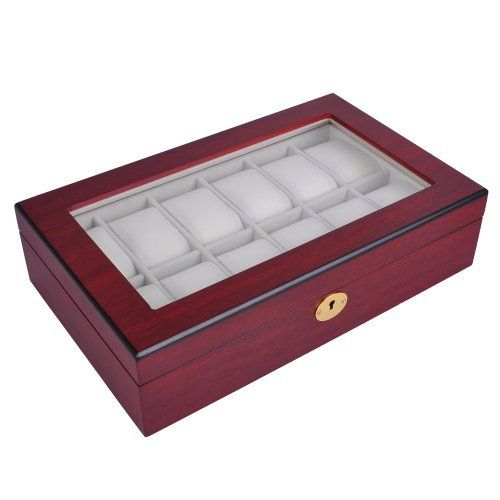 """Luxury Design Rosewood Matte Stain Wooden Glass Top 10 Watch Display Case 13""""x8"""" Jewelry Box Gold Accents"""