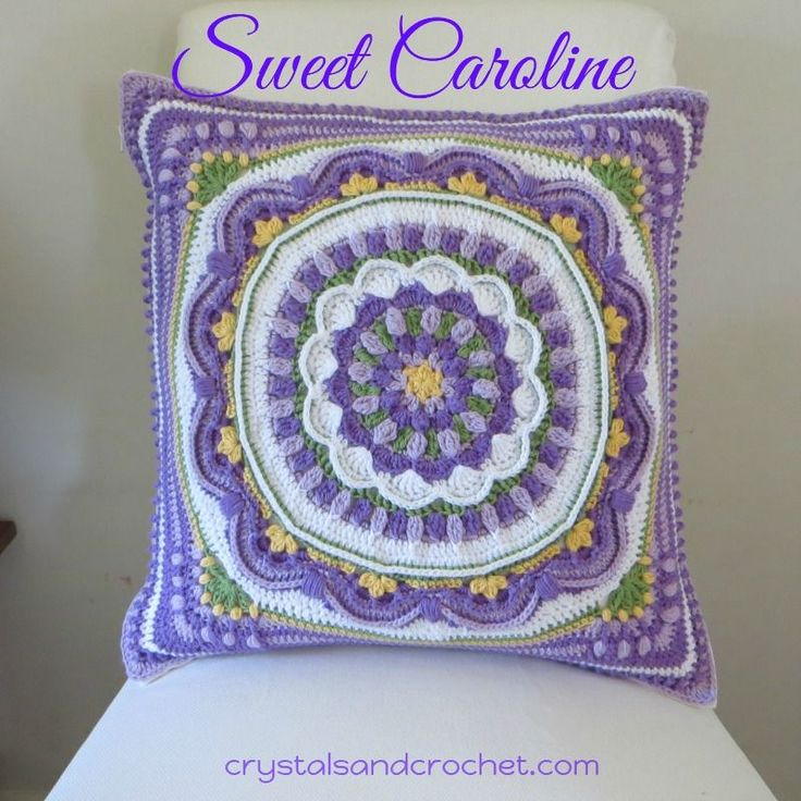 Sweet Caroline - free crochet cushion/pillow CAL by Helen Shrimpton at Crystals and Crochet. 20 inch square.