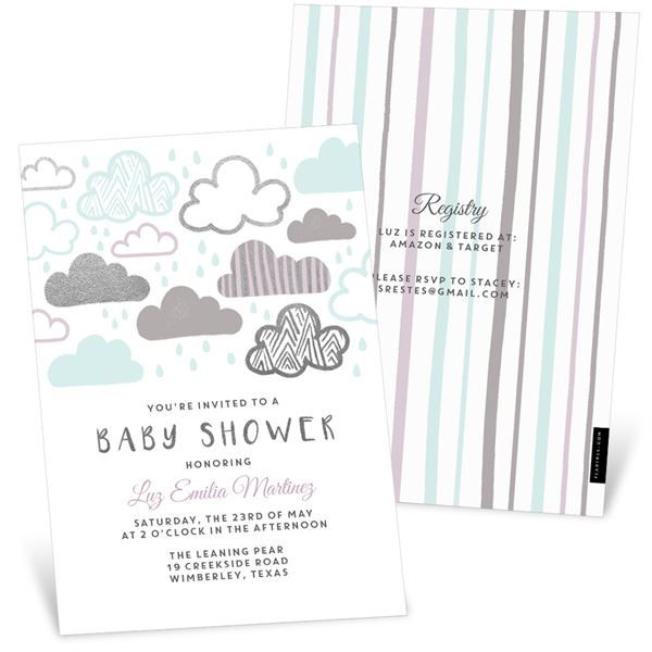 Pouring Love Foil Baby Shower Invitations