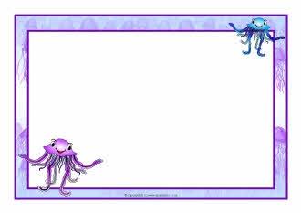 Jellyfish A4 page borders (SB7445) - SparkleBox